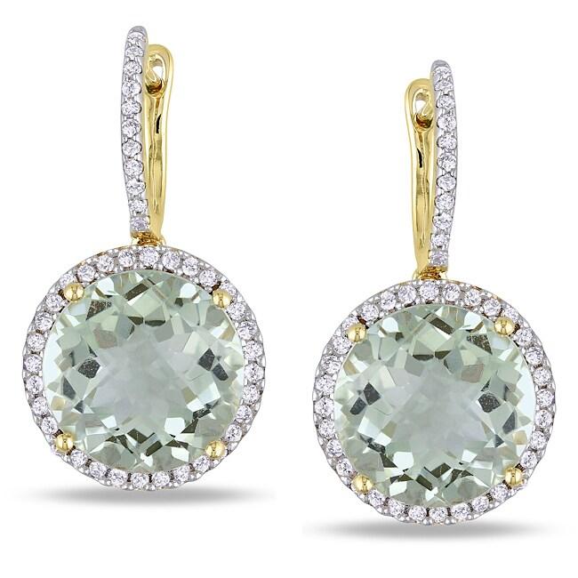 Miadora 14k Yellow Gold Amethyst and 1/2ct TDW Diamond Earrings (G-H, SI1-SI2)