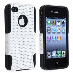 BasAcc Black Skin/ White Mesh Hybrid Case for Apple iPhone 4/ 4S