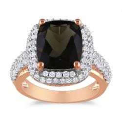 Miadora 18k Pink Goldplated Silver 5 1/4ct TGW Smoky Quartz and Sapphire Ring