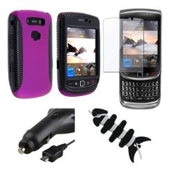 Purple Case/ LCD Protector/ Charger/ Wrap for BlackBerry Torch 9800