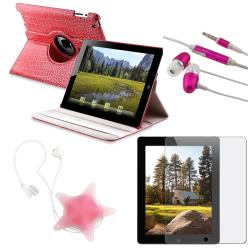 BasAcc Pink Crocodile Case/ Protector/ Headset/ Wrap for Apple iPad 2