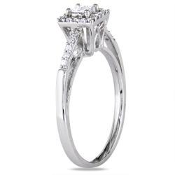 Miadora 14k White Gold 1/5ct TDW Diamond Halo Ring (G-H, I1-I2)