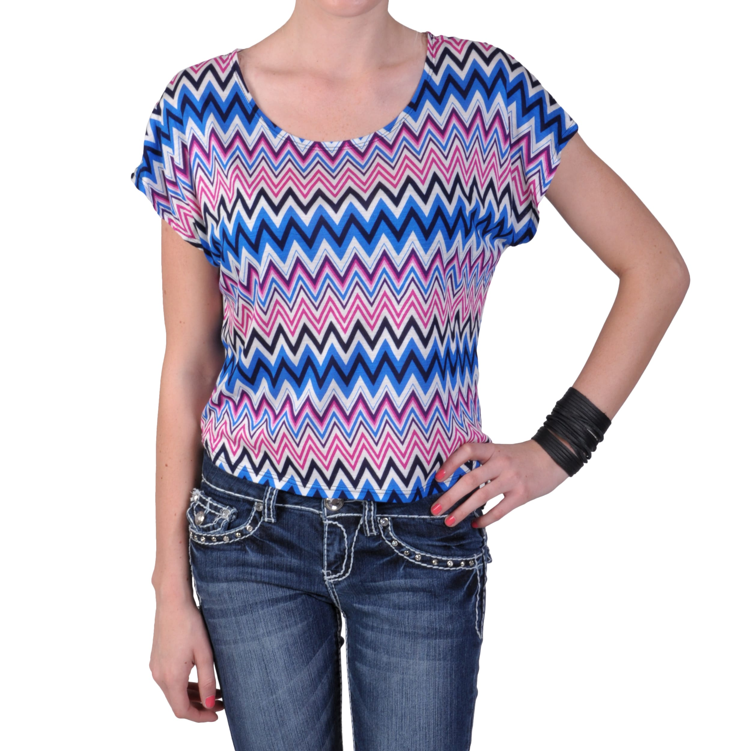 Journee Collection Juniors Short-sleeve Scoop Neck Knit Top