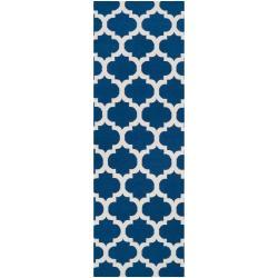 Hand-woven Blue Foptop Wool Rug (2'6 x 8')