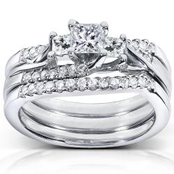 14k White Gold 7/8ct TDW Diamond 3-piece Bridal Ring Set (H-I, I1-I2)