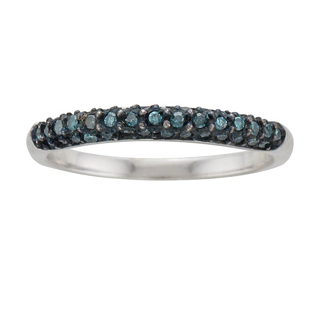 Unending Love Sterling Silver 1/4ct TDW Blue Diamond Stackable Ring