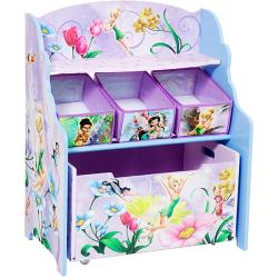 Disney Tinker Bell Fairies 3-tier Toy Organizer with Rollout Toy Box