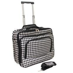 World Traveler Houndstooth Fashion Print Women's Rolling 17-inch Laptop Briefcase