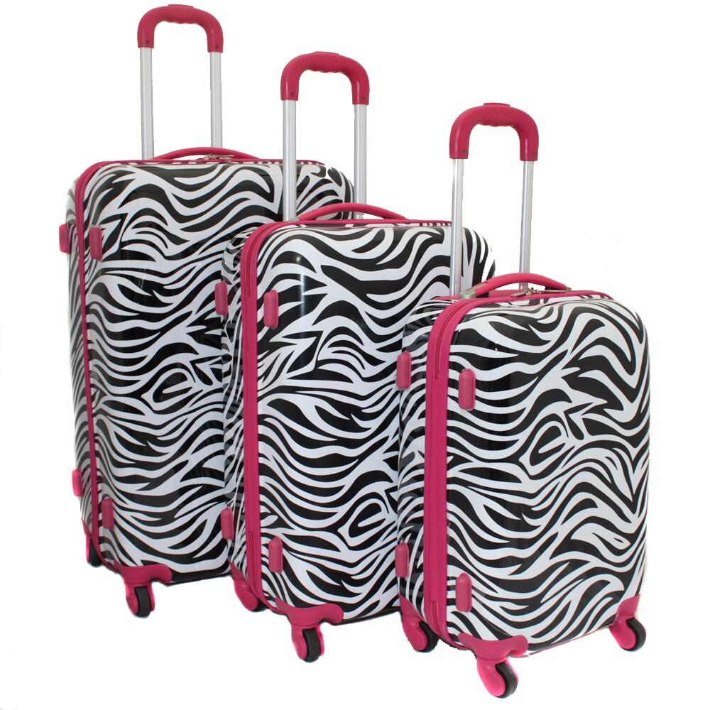 World Traveler Designer Prints Pink Trim Zebra 3-piece Lightweight Hardside Spinner Luggage Set