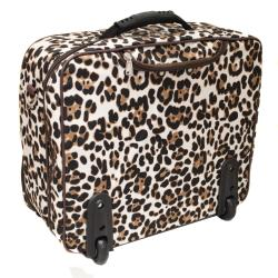 World Traveler Leopard Fashion Print Women's Rolling 17-inch Laptop Briefcase