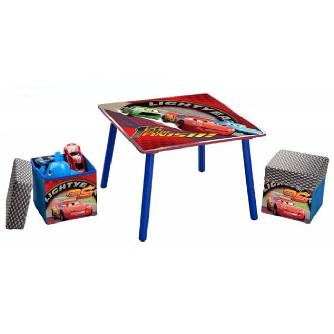 Disney Cars Table and Fabric Storage Ottoman Set