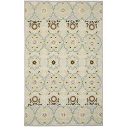 Hand-hooked Chelsea Light Blue/ Ivory Wool Rug (7'6 x 9'9)