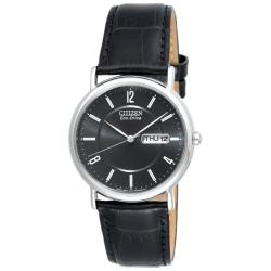 Citizen Men's Eco-Drive Black Dial, Silver Accents, Black Leather Strap Watch