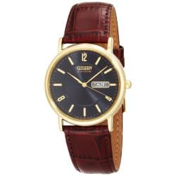 Citizen Men's Eco-Drive Black Dial Brown Leather Watch