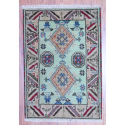 Indo Hand-knotted Kazak Light Green/ Beige Wool Rug (2' x 3')