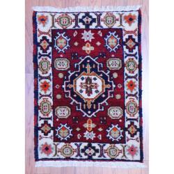 Indo Hand-knotted Kazak Burgundy/ Ivory Wool Rug (2' x 3')