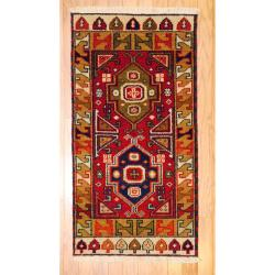 Indo Hand-knotted Kazak Red/ Ivory Wool Rug (2' x 4')