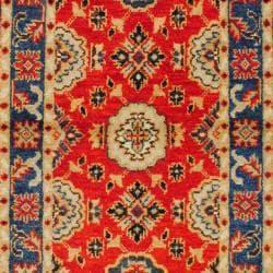 Indo Hand-knotted Kazak Orange/ Red Wool Rug (3' x 5')
