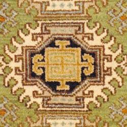 Indo Hand-knotted Kazak Light Green/ Ivory Wool Rug (2' x 4')