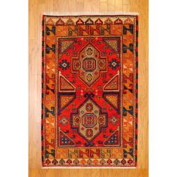 Indo Hand-knotted Kazak Orange/ Rust Wool Rug (3' x 5')