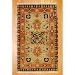 Indo Hand-knotted Kazak Beige/ Light Brown Wool Rug (3' x 5')