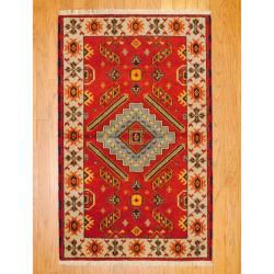 Indo Hand-knotted Kazak Orange/ Beige Wool Rug (3' x 5')