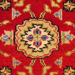 Indo Hand-knotted Kazak Red/ Navy Wool Rug (2' x 4')