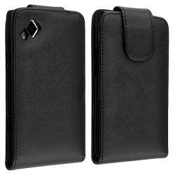 Black Leather Flip Case for Samsung Wave S8500
