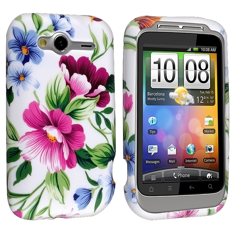 White/ Hot Pink/ Blue Azalea TPU Rubber Skin Case for HTC Wildfire S