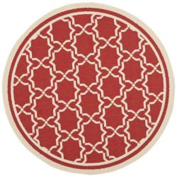 Poolside Red/ Bone Indoor/ Outdoor Polypropylene Rug (6'7 Round)