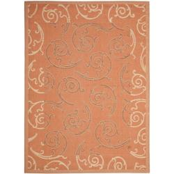 Poolside Power-loomed Terracotta/ Cream Indoor/ Outdoor Rug (4' x 5'7)
