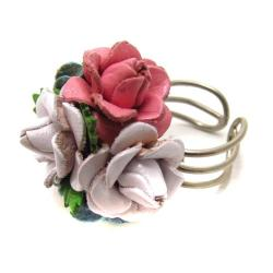 Blue/Pink/White Floral Bouquet Genuine Leather Free Rize Ring (Thailand)
