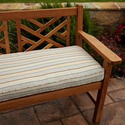 Clara Tan Grey Stripe 48 inch Outdoor Sunbrella Bench