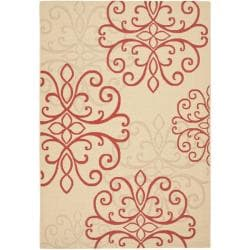 Poolside Cream/ Red Indoor Outdoor Rug (6'7 x 9'6)