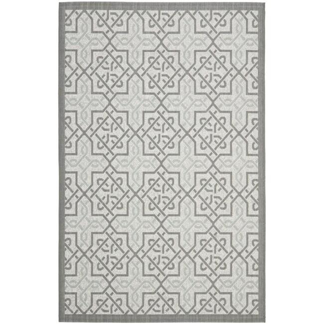 Safavieh Light Grey/ Anthracite Indoor Outdoor Rug (8' x 11'2)