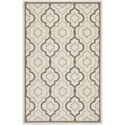 Poolside Beige/Dark Beige Indoor/Outdoor Bordered Rug (4' x 5'7