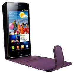 Purple Flip Leather Case/ Card Holder for Samsung Galaxy S II i9100