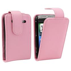 Pink Flip Leather Case with Card Holder for HTC Wildfire S