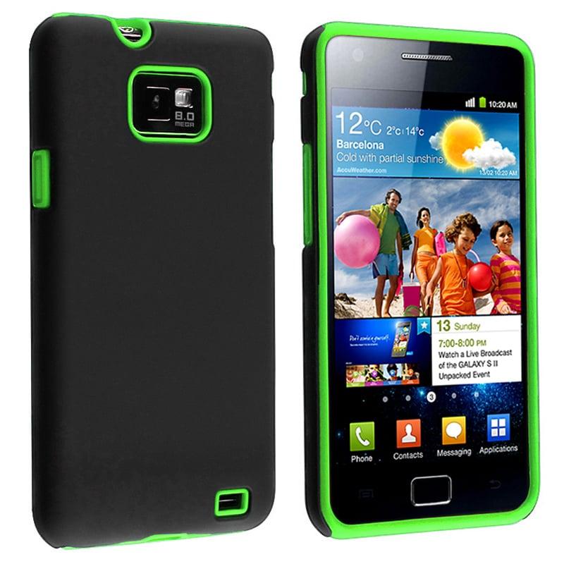 Green Skin/ Black Hard Hybrid Case for Samsung Galaxy S II i9100