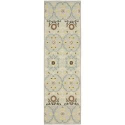 Safavieh Hand-hooked Chelsea Light Blue/ Ivory Wool Rug (2'6 x 8')