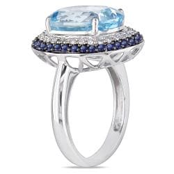 14k White Gold Topaz, Sapphire and 1/5ct TDW Diamond Ring (H-I, I1-I2)