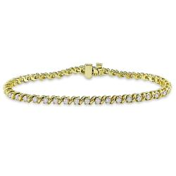 Miadora 14k Yellow Gold 1 1/2ct TDW Diamond 7-inch Tennis Bracelet (G-H, SI2)