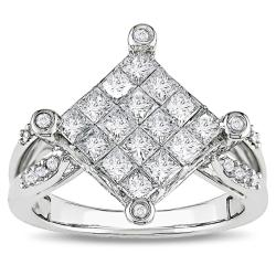 Miadora 14k White Gold 1ct TDW Princess-cut Diamond Ring (G-H, I1-I2)