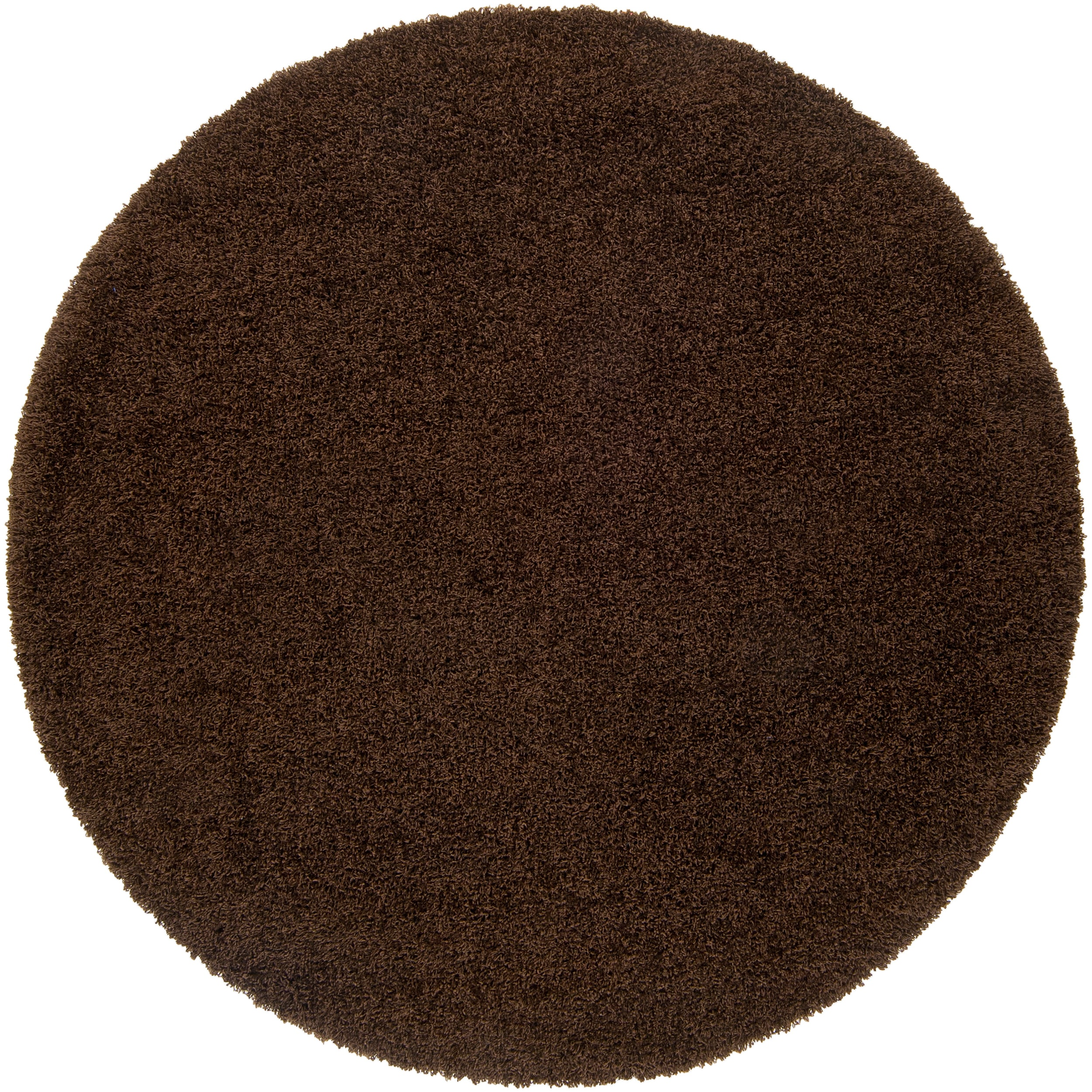 Expertly Woven Brown Wolden Super Soft Shag Rug (8' Round)