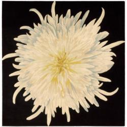 Nourison Hand-tufted Black/Ivory Bloom Rug (4' x 4')