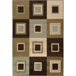 Meticulously Woven Contemporary Brown/Green Parrish Geometric Squares Rug (5'3 x 7'6)