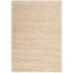 Woven White Luxurious Soft Shag Rug (6'7 x 9'6)