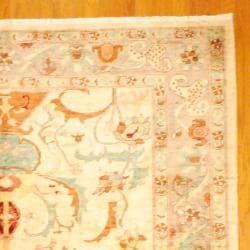 Afghan Hand-knotted Vegetable Dye Oushak Beige/ Light Brown Wool Rug (9'3 x 12'4)