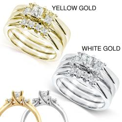 14k Gold 3/4ct TDW Diamond 3-piece Bridal Ring Set (H-I, I1-I2)