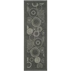 Poolside Black/ Sand Indoor Outdoor Rug (2'4 x 9'11)
